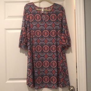 Multi color long sleeve dress